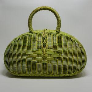 Green Woven Basket Purse Handbag